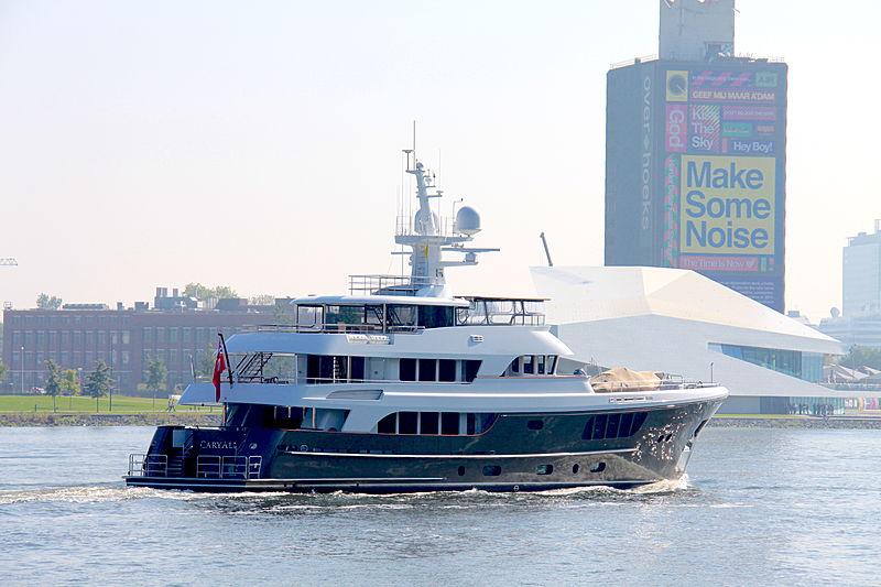 Caryali yacht passing through Amsterdam
