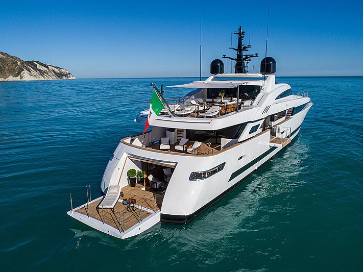 Agora III yacht anchored stern