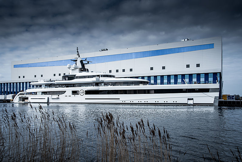 Lady S yacht by Feadship launch in Amsterdam