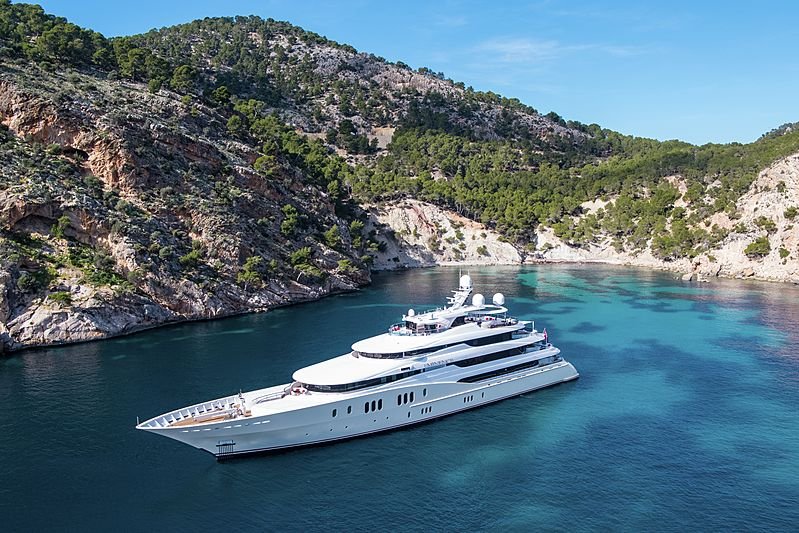Eminence yacht aerial view