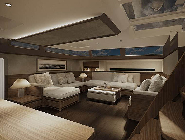 Cefea sailing yacht saloon