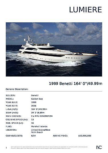 Lumiere yacht brochure