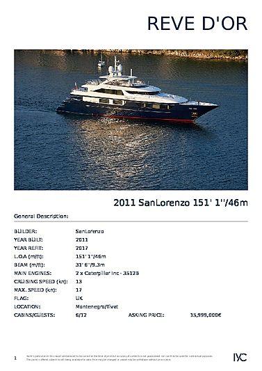 Reve d'Or yacht brochure