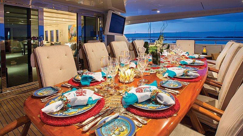 Rhino yacht deck dining