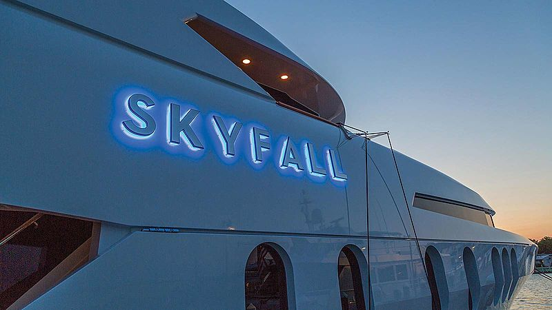 Skyfall yacht name plate