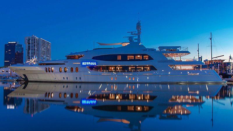 Skyfall yacht in marina