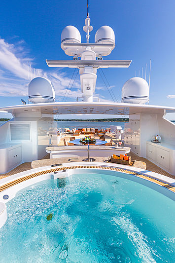 Skyfall yacht jacuzzi and deck