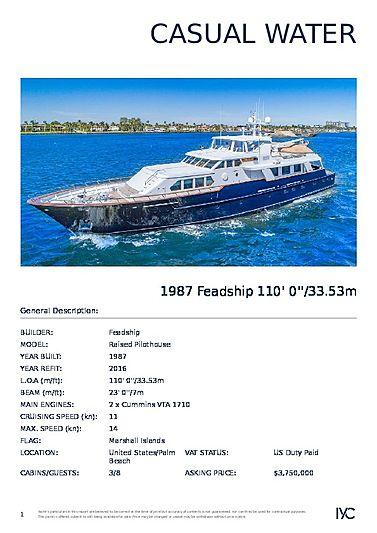 Casual Water yacht brochure
