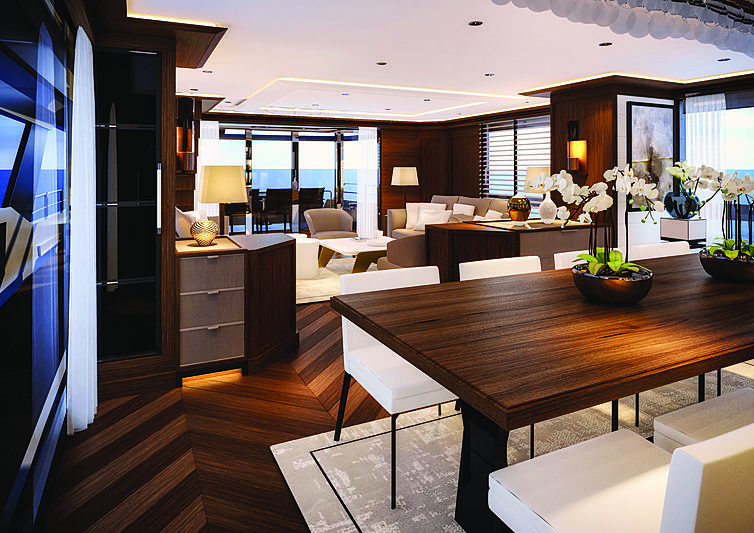 Sirena 88RPH yacht interior design