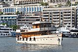 Over The Rainbow yacht leaving Monaco