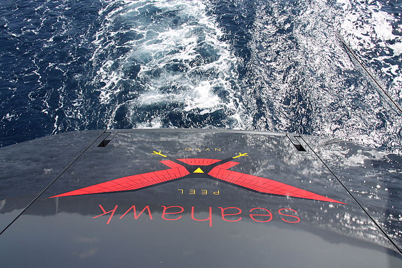 Onboard Seahawk yacht name plate