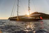 Q anchored at sunset