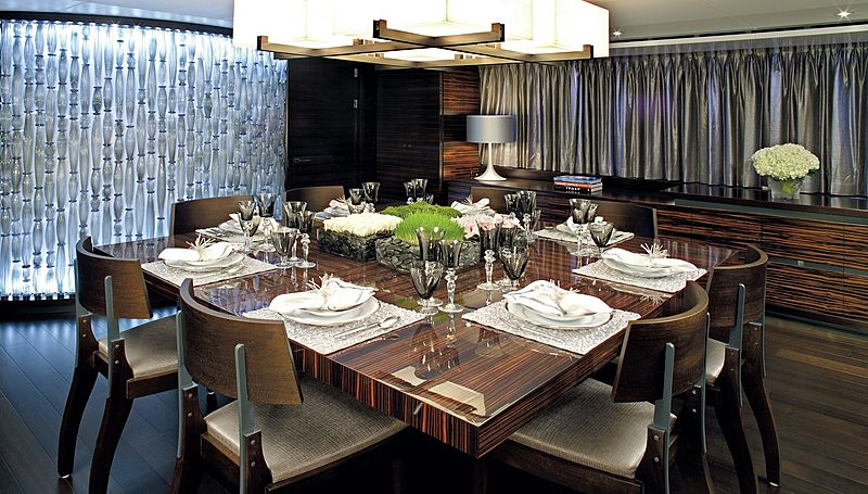 Inception yacht dining room