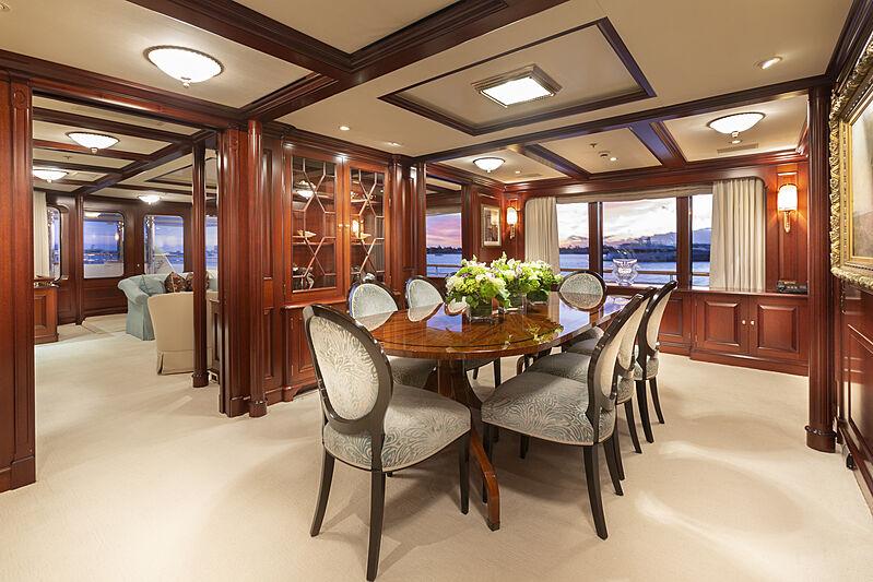 Mary A yacht dining room