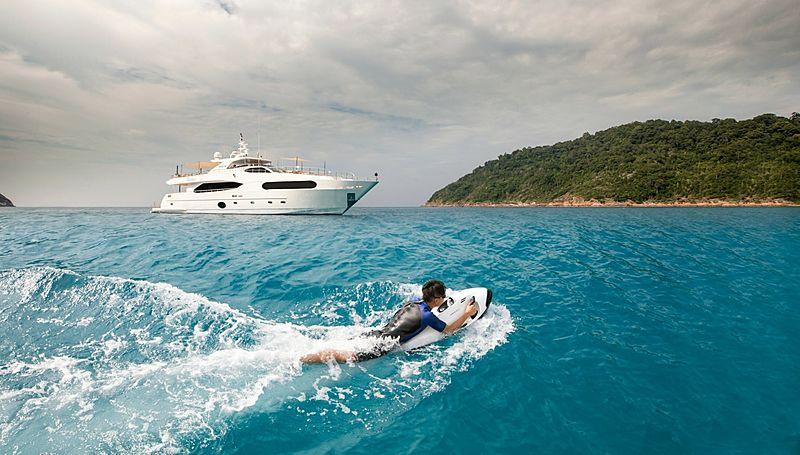 Mykonos yacht at anchor