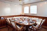 Steel upper deck dining area