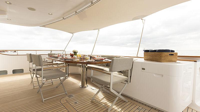 Aroha yacht aft deck