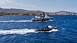 RH3 yacht cruising with her tender