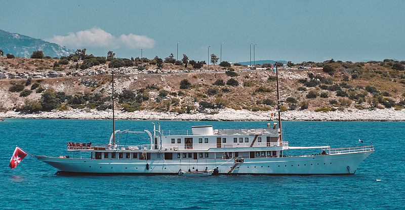 Madiz yacht at anchor in Athens, greece
