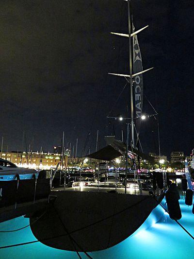 A Sulana yacht at night