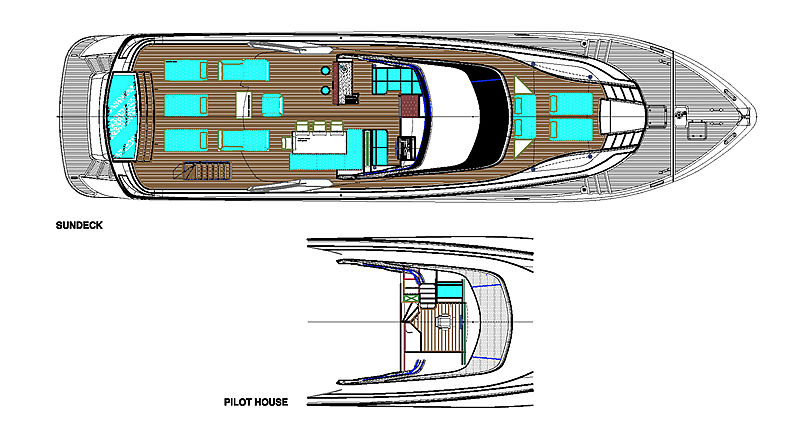 Maiora 30 Walk Around yacht layout