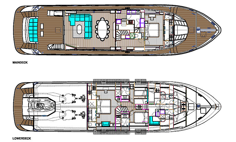 Maiora 30 Walk Around yacht layout