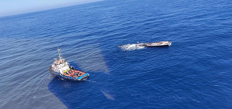 My Song salvage operation taking place off the coast of Menorca
