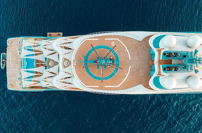 Flying Fox yacht by Lürssen in Porto Pollo, Sardinia