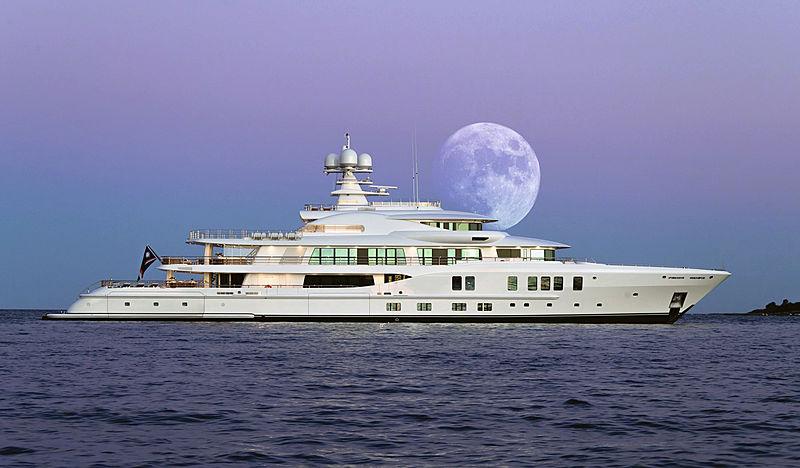 Universe yacht at anchor