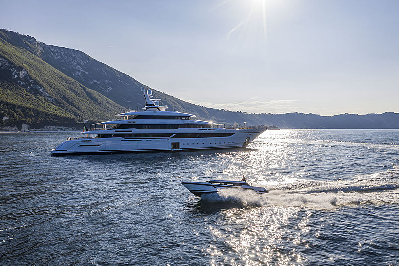 Dragon yacht anchored