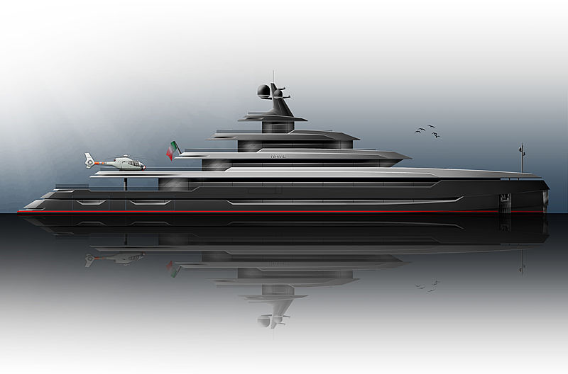 Cook 84m yacht concept exterior rendering