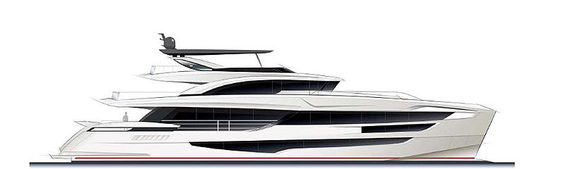 Dominator Ilumen 36m and 38m Tri Deck yacht rendering