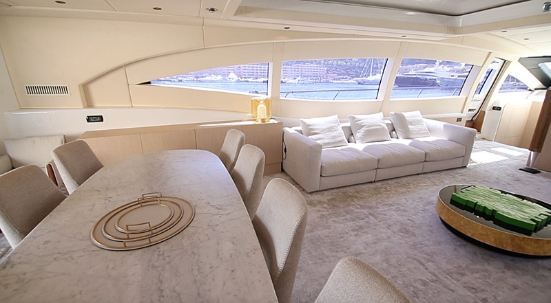 Neoprene yacht dining area