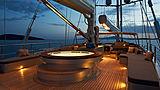 Melek yacht sundeck at night