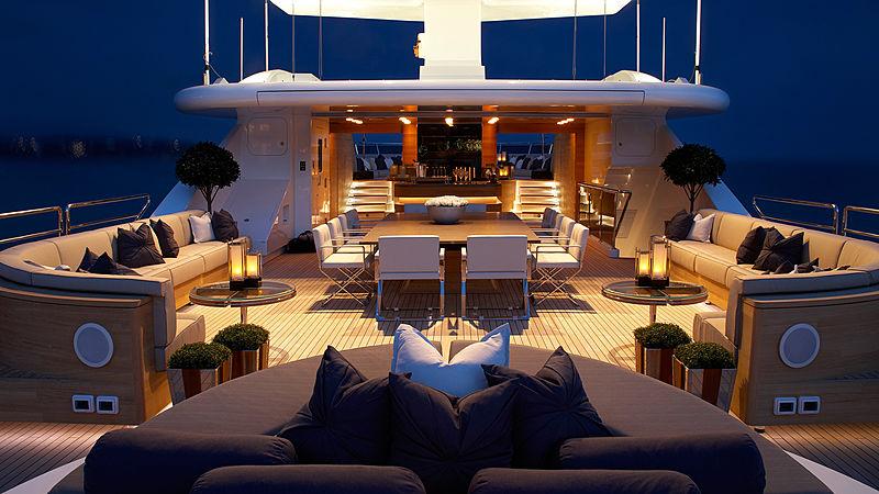 Sealyon yacht sundeck at night
