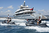 Mogambo yacht with her toys