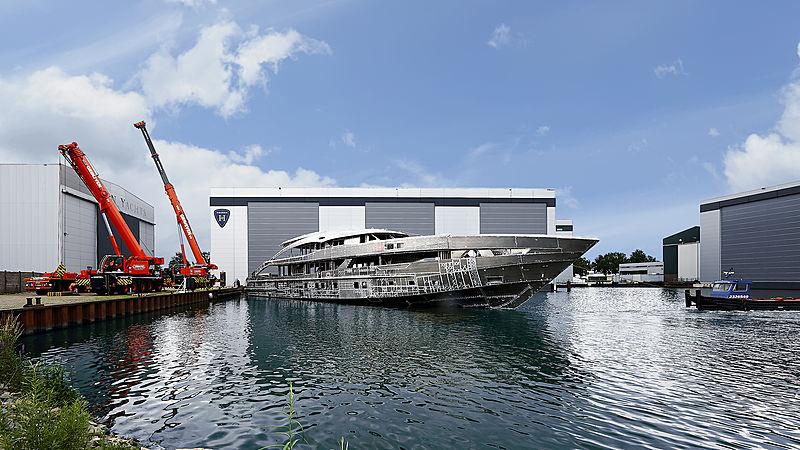 Heesen yacht Project Aquamarine in build in Oss
