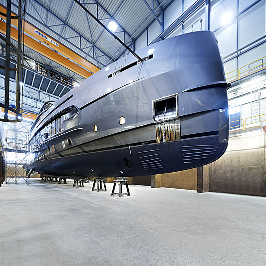 Boreas yacht ahead of her launch at Heesen Yachts