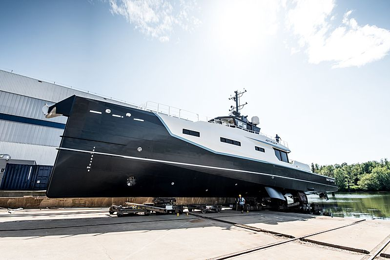 Joy Rider support vessel yacht launch at Damen in Gorinchem