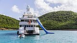 Gladiator yacht at anchor with her toys