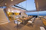 Aquijo yacht outdoor dining area