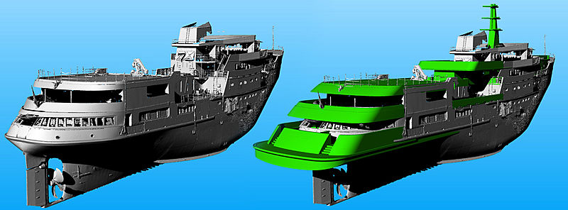 Yacht Legend 3D render for refit extension work