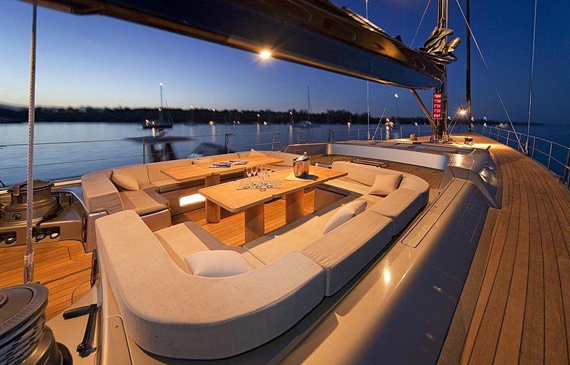 Dark Shadow yacht deck at night