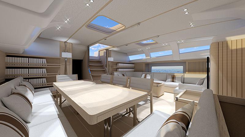 Nautor's Swan 98 yacht interior rendering