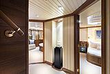 Scout II yacht lower deck guest foyer