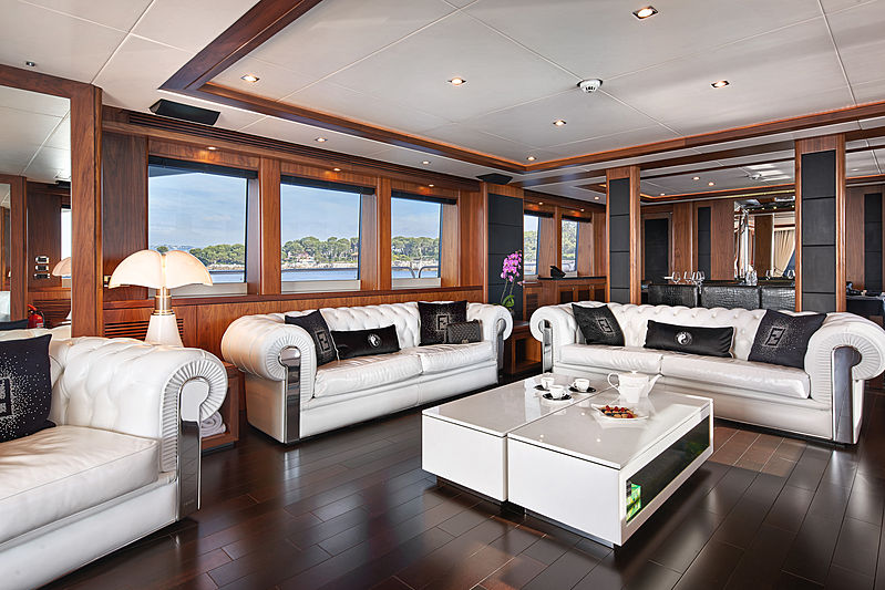 Black and White yacht saloon