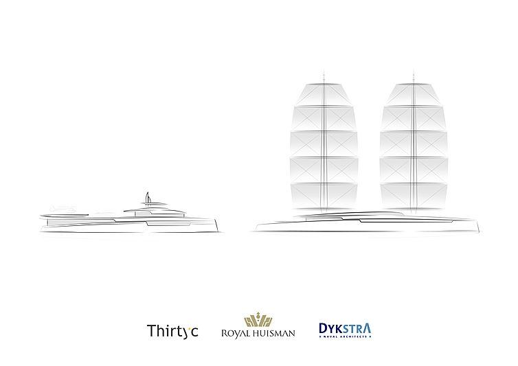 Royal Huisman Lotus yacht and her shadwo concept rendering