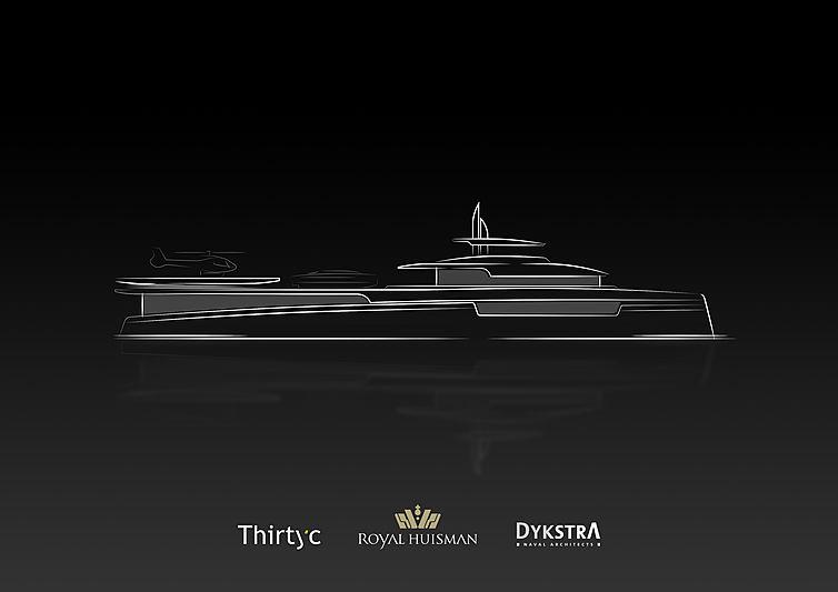 Royal Huisman Lotus yacht shadow concept rendering
