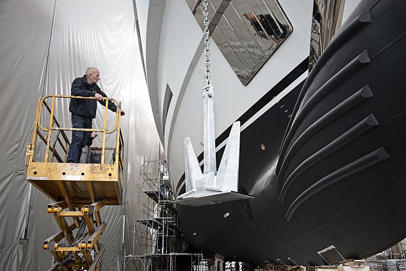 Life Saga yacht in build in Marina di Carrara