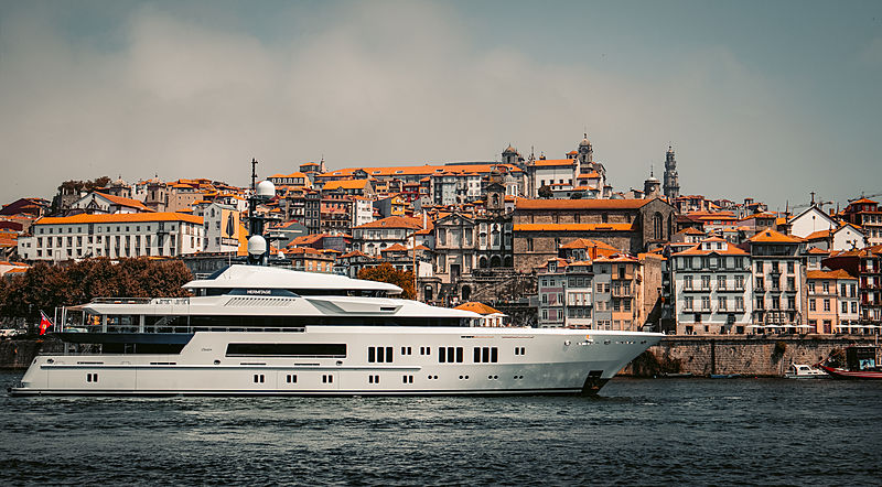Hermitage yacht arriving in Porto, Portugal